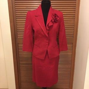 White House Black Market Red skirt suit 6
